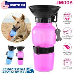 500ML Portable Dog Water Bottle w/Water Bowl for Traveling E