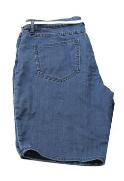 #7 NWT Lee Rider Blue Jean Belted Mid Rise Stretch Bermuda W