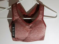 Fittin Crossback Sports Bra Red- Padded, Seamless, Med Suppo