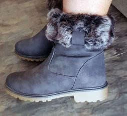 Flat Winter Grey Womans Boots Faux Fur Ankle Casual Walking