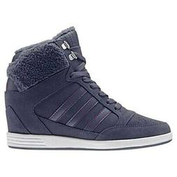 ADIDAS HIGH TOP GRAY COMFORT SUEDE WEDGE SHOES BOOTS WALKING
