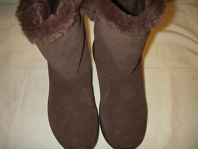 Skechers Walk Suede Leather/Faux Lined Boots 8 Brown