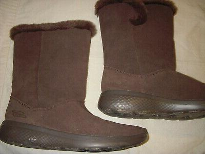 Skechers Stunning Suede Leather/Faux Fur Boots Womens 8 Brown