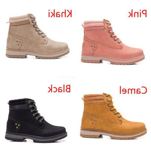 Women Hiking Walking Ankle Boots Lace Snow Shoes