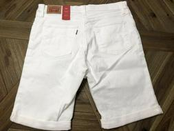 Levi's NEW White Womens Size 32 Denim Stretch Bermuda Walkin