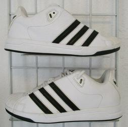 Men's Adidas Star Sneakers, New Solid White Blk Sport Life W