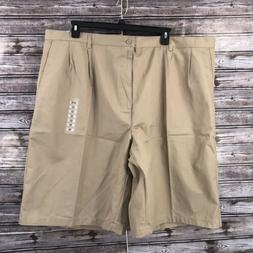 Fit America Men's Khaki Walking Shorts Pleated Front With