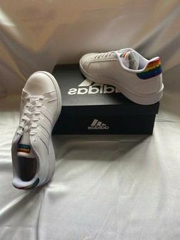 New! Women's Adidas WHITE/RAINBOW Cloudfoam Grand Court Casu