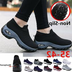 Plus Size Womens Wedge Walking Shoes Slip on Breathable Casu