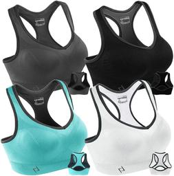 FITTIN Racerback Sports Bras Pack of 4 - Padded Seamless Hig