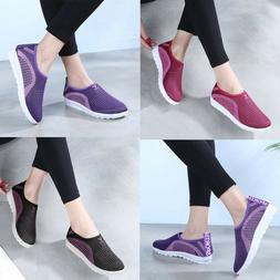 Walking Women's Mesh Flat With Cotton Casual Stripe Sneakers