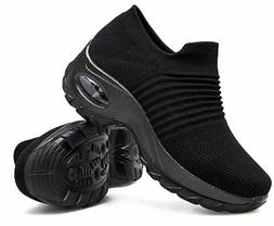 Women's Walking Shoes Sock Sneakers - Mesh Slip On Air Cushi