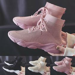 Women Sneakers Boots High Top Breathable Mesh Casual Walking
