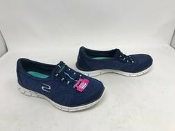 Womens Skechers  Navy Slip On Wide Shoes 416o