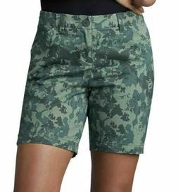 Women's LEE midrise fit Floral Camo walking shorts NWT Str