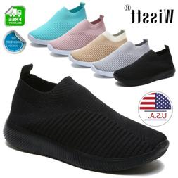 Womens Sneakers Knitted Mesh Breathable Casual Shoes Walking